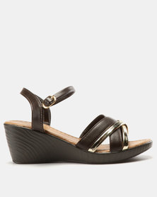 Solle Ankle Strap Wedges Choc/Gold