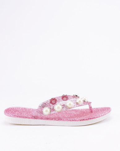 Candy Metallic Flip Flops Pink