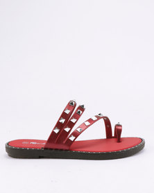 Candy Studded Slip On Sandals Red