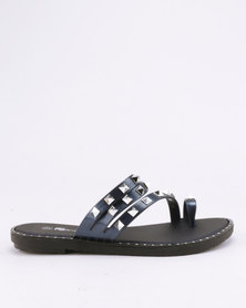 Candy Studded Slip On Sandals Navy