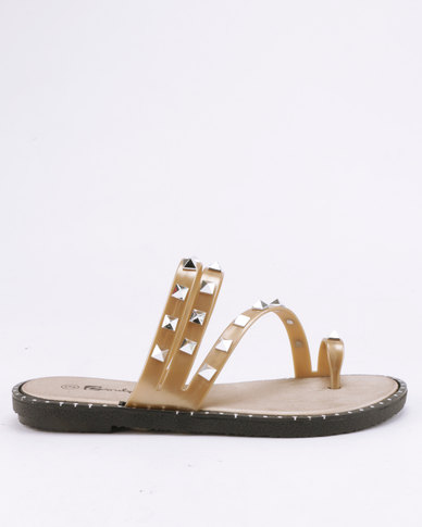 Candy Studded Slip On Sandals Champagne