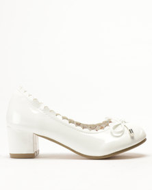 Candy Scalloped Edge Patent Heel Court Shoes White