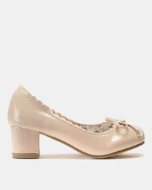 Candy Scalloped Edge Patent Heels Court Shoes Nude