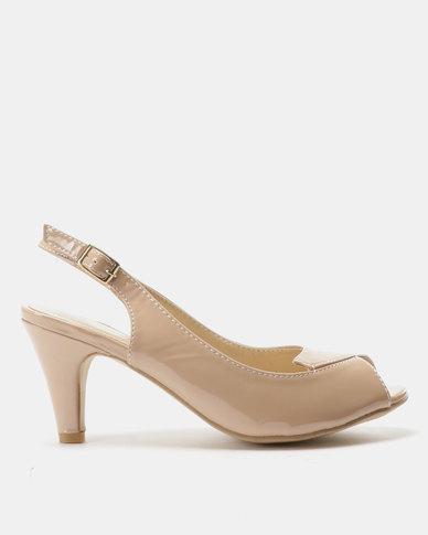 1b7f284776 Urban Zone Peep Toe Sling Back Heels Nude Patent
