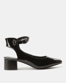 Urban Zone Ankle Strap Court Heels Black Patent