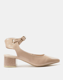 Urban Zone Ankle Strap Court Heels Nude Patent