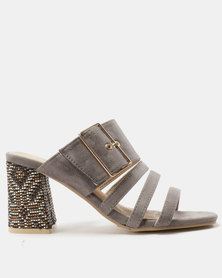 Urban Zone Multi-Strap Detailed Heels Grey