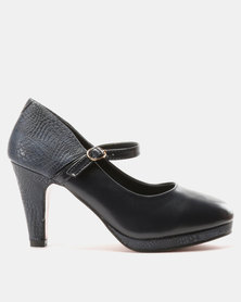 Urban Zone Mary Jane Heels Navy PU