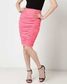 Sissy Boy Ruched Midi Skirt Pink