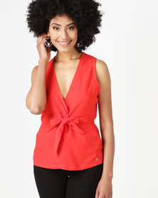 Sissy Boy V-neck With Knot Detail Casual Top Tangerine