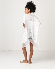 Joy Collectables Kaftan with Lace Detail White