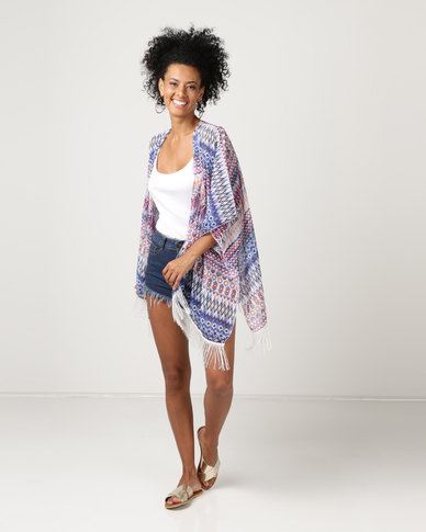 Joy Collectables Kaftan with Fringing Detail Aztec