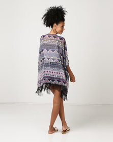 Joy Collectables Kaftan with Fringing Detail Multi Print