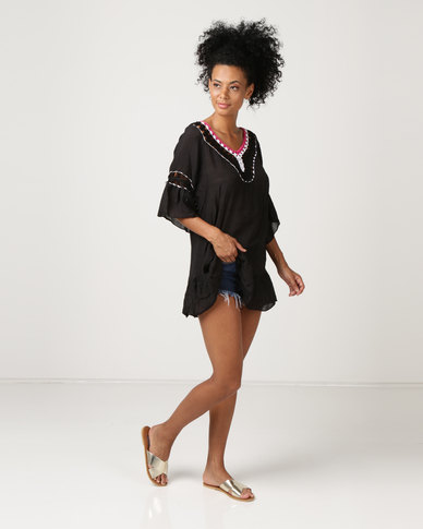 Joy Collectables Pom Pom Short Kaftan Black