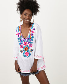 Joy Collectables Short Kaftan With Colour Embroidery White