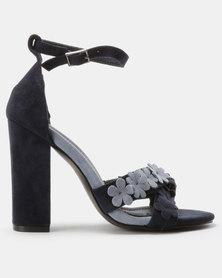 PLUM Floral Heels Navy/Powder Blue