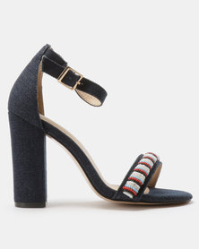 PLUM Denim Beaded Heels Navy
