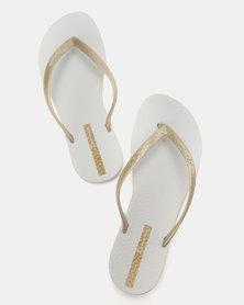 Ipanema Wave Flip Flops White/Gold