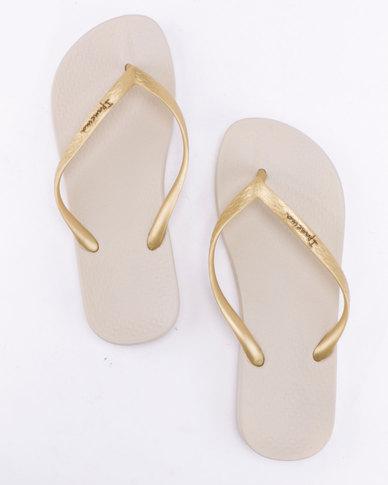 Ipanema Anatomica Tan Fem Flip Flops Beige Gold