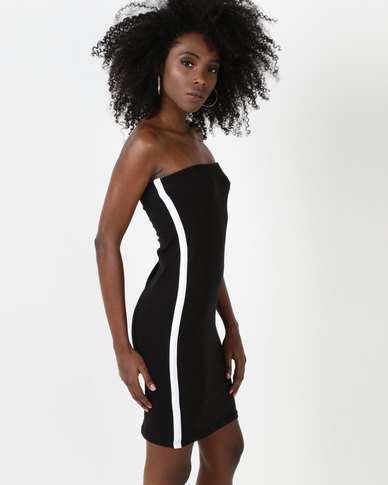 N'Joy Side Stripe Boob Tube Dress Black