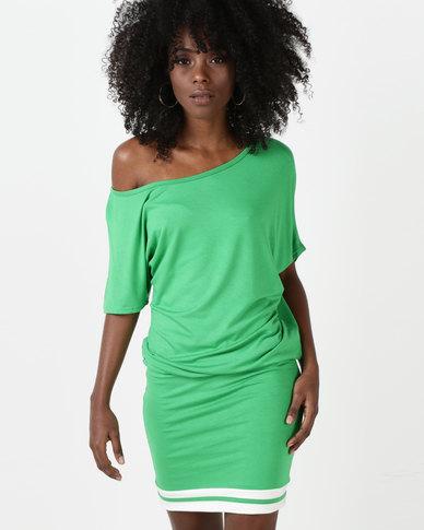 N'Joy Off Shoulder With Strap Detail Dress Green/White