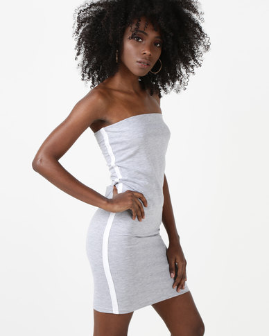 N'Joy Side Stripe Boob Tube Dress Light Grey