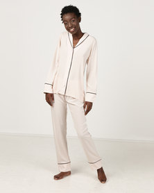Poppy Divine Plain  Rayon Classic PJ Nude With Black Piping