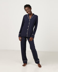 Poppy Divine Plain Rayon Classic PJ Navy With Ivory Piping