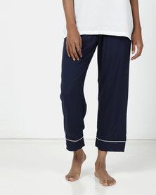 Poppy Divine Plain Rayon 3/4 Pants Navy with Nude Piping