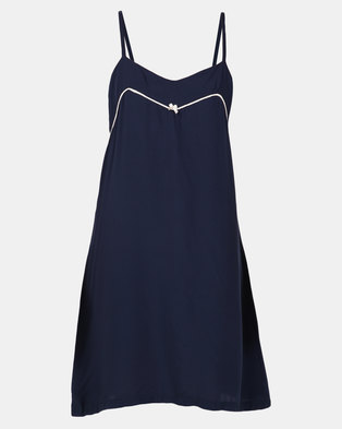 2786b91af8ec Poppy Divine Plain Rayon Chemise Navy With Nude Piping
