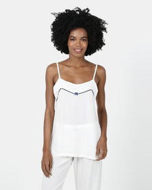Poppy Divine Plain Rayon Strappy Top Ivory With Navy Piping