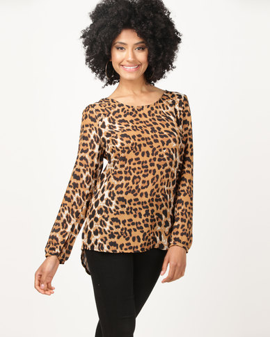 Revenge Animal Print Long Sleeve Blouse Multi