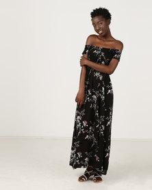 Revenge Midi Dress Floral Print Black