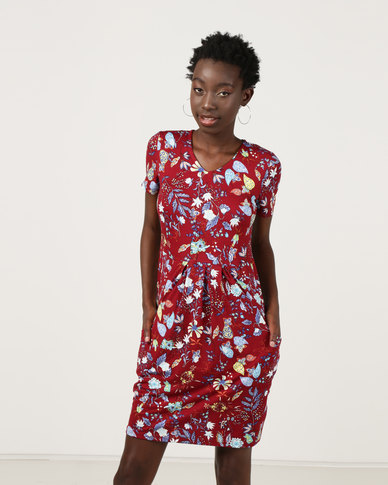 Revenge Shift Dress Floral Print Wine