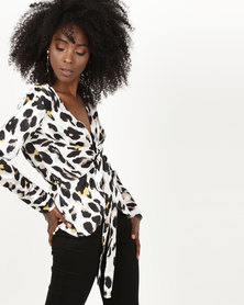 London Hub Fashion Open Tie Front Belted Top White Leopard