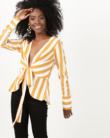 London Hub Fashion Open Tie Front Belted Top Gold Stripe