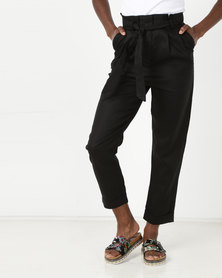 Gallery Clothing Linen Paperbag Trousers Black