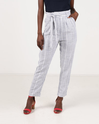 Gallery Clothing Linen Paperbag Trousers Stripe