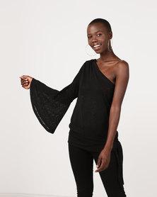 Gallery Clothing One Shoulder Top Tie Basque Flared Sleeve Black