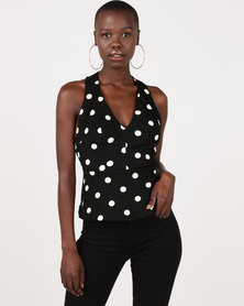 Gallery Clothing Peplum Top with Chains at Back Black