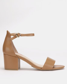 Bata Red Label Block Heel Metal Trim Sandals Nude