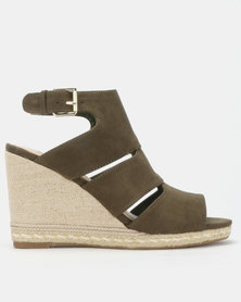 Bata Red Label Espadrille Trim Wedges Green