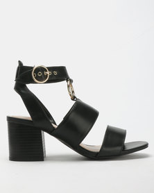 Bata Red Label Block Heel Metal Trim Sandals Black