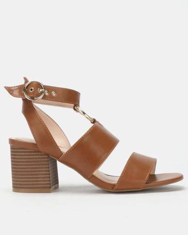 d16e00ae2b29 Bata Red Label Block Heel Metal Trim Sandals Brown
