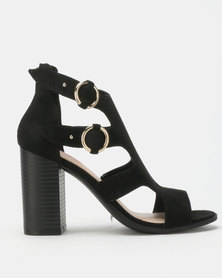 Bata Red Label Block Heel Gladiator Sandals Black
