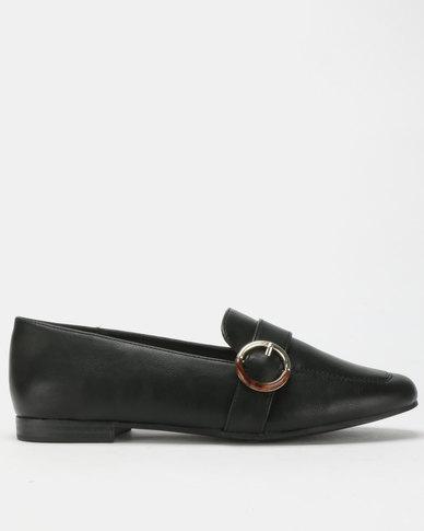 Bata Red Label Buckle Trim Loafers Black