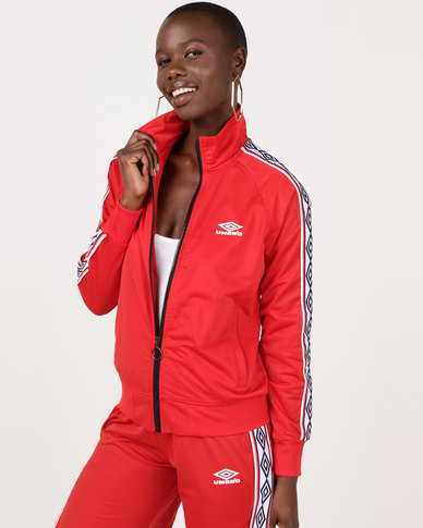 Umbro X Misguided Tape Sleeve Tricot Track Top Aurora Red