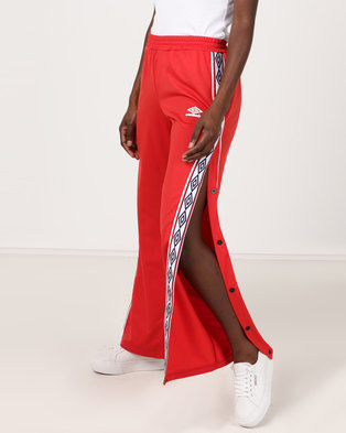 Umbro X Misguided   Taped Tricot Track Pants Aurora Red