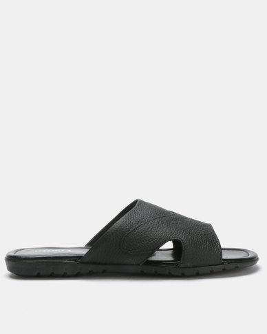 Utopia Mens Leather Sandals Black