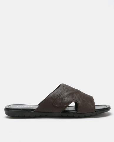 Utopia Mens Leather Sandals Brown
